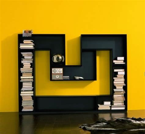 A Bookcase Shaped Like A M Shaped Bookcase From Luxury House Freshome