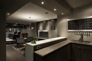 Basement brewery bar home theater contemporary basement