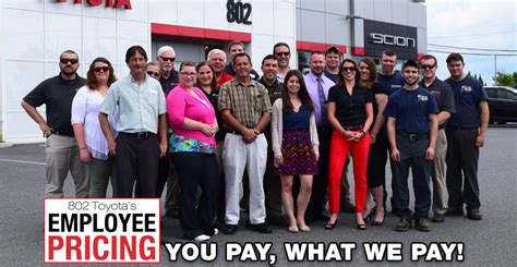 Toyota Employee Discount You Pay What We Pay Employee Pricing At 802 Toyota