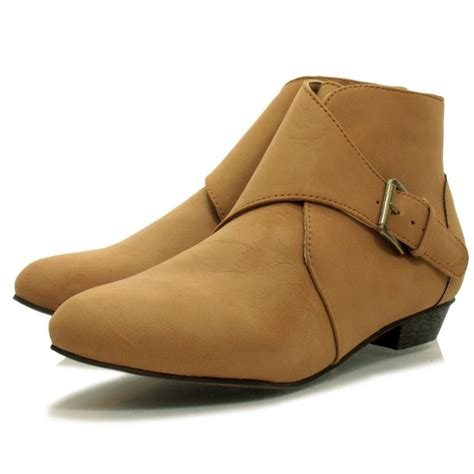 flat shoe with ankle womens flat chelsea ankle buckle shoe boots