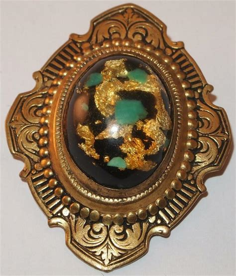 vintage revival oval sted brass foiled brooch pin ebay