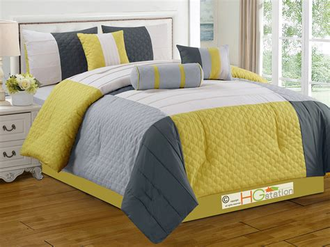 7 pc patchwork quatrefoil trellis pleated comforter set