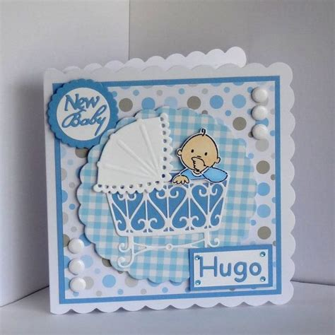 Handmade Baby Cards Ideas - handmade new baby boy card handsted coloured can be