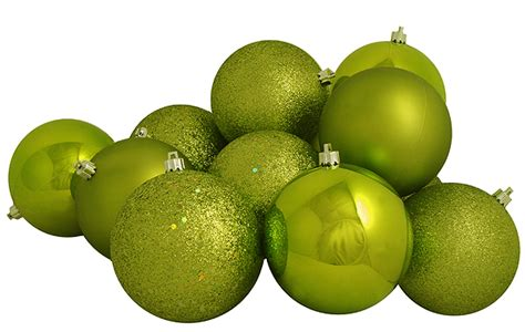 32ct key lime green shatterproof 4 finish christmas ball