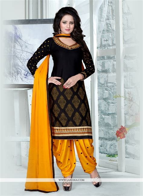punjabi suits buy black resham work punjabi suit online new zealand