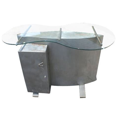 4ft sculptural postmodern metal glass table desk ebay
