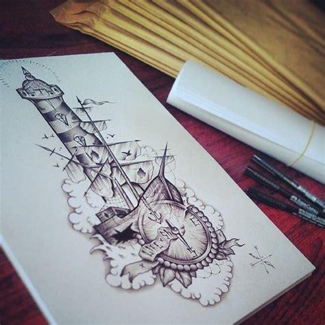 compass lighthouse tattoo lighthouse boat compass by edwardmiller deviantart com