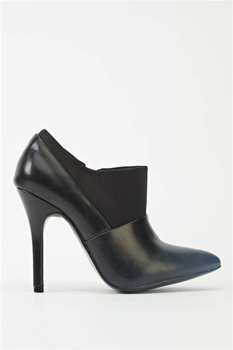 contrast insert heeled boots black just 163 5