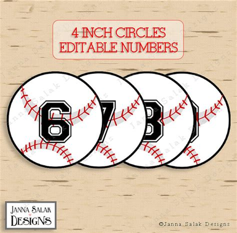 printable baseball numbers 4 baseball tags with editable numbers instant download