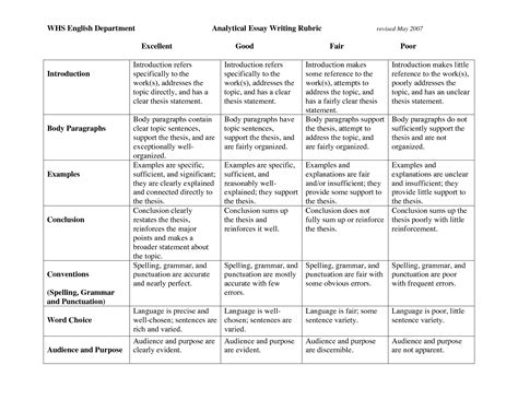 analytical essay writing rubric by qji84535 writing