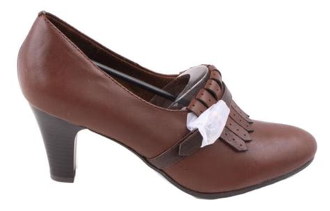 naturalizer yasmina womens brown leather heel dress shoes size 8 5 wide width ebay