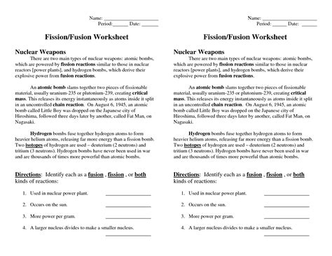 Nuclear Fission And Fusion Worksheet by Nuclear Fission And Fusion Worksheet Photos Getadating