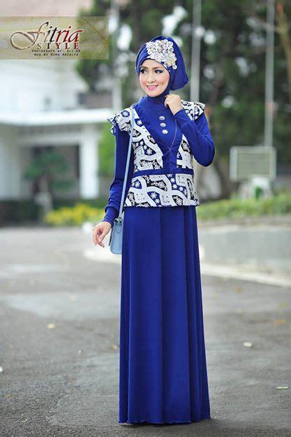 Dress Jersey Berlengan azarine by fitria style biru e baju muslim gamis modern