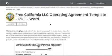 Free California Llc Operating Agreement Template Pdf Word Youtube Operating Agreement Template Pdf