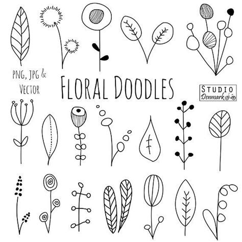 doodle line drawings doodle flowers clipart and vectors flower and