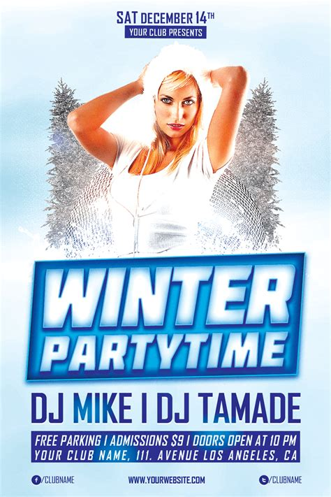 Winter Party Time Free Psd Flyer Template Winter Flyer Template