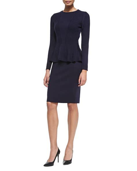 Peplun Set magaschoni peplum wool sweater skirt set in blue lyst