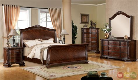 penbroke luxurious baroque brown cherry sleigh bedroom set