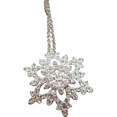 swarovski snowflake necklace from antiqueali on ruby