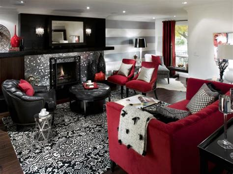 red and white living rooms home design ideas retro red black and white family room hgtv