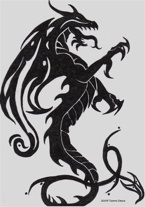 tribal dragon tattoo drawings images designs