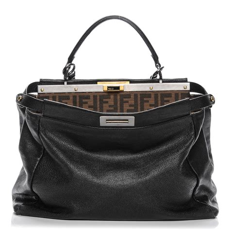 Fendis Fendi To You Large Satchel by Fendi Goatskin Zucca Large Peekaboo Satchel Black 194615