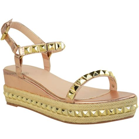gold low wedge sandals womens studded low wedge espadrille sandals
