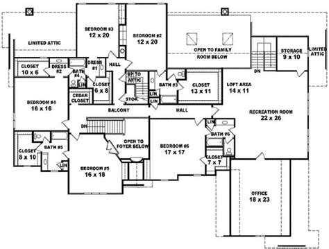 6 bedroom house floor plans 7700 square 6 bedrooms 4 batrooms 4 parking space on 2 levels house plan 19161 all