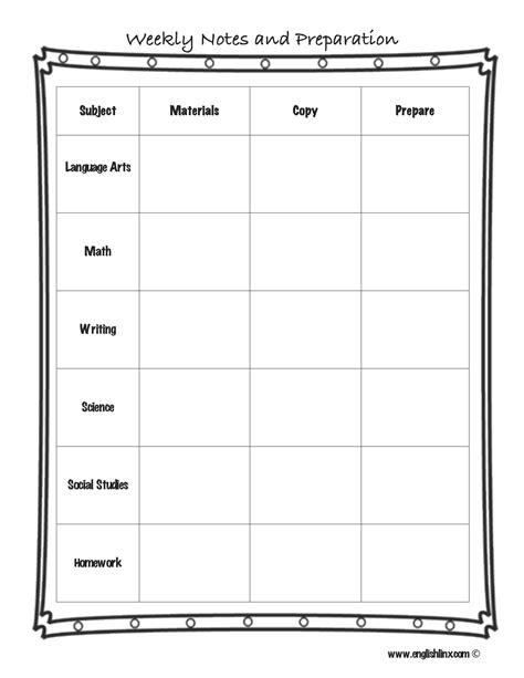 lesson preparation template lesson plan template weekly notes and preparation lesson