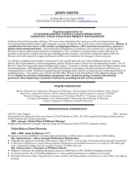 resume sles for supply chain management top supply chain resume templates sles