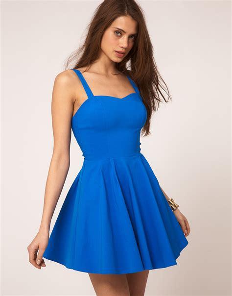 Dress Fashion Skater asos collection asos skater dress in bengaline in blue lyst