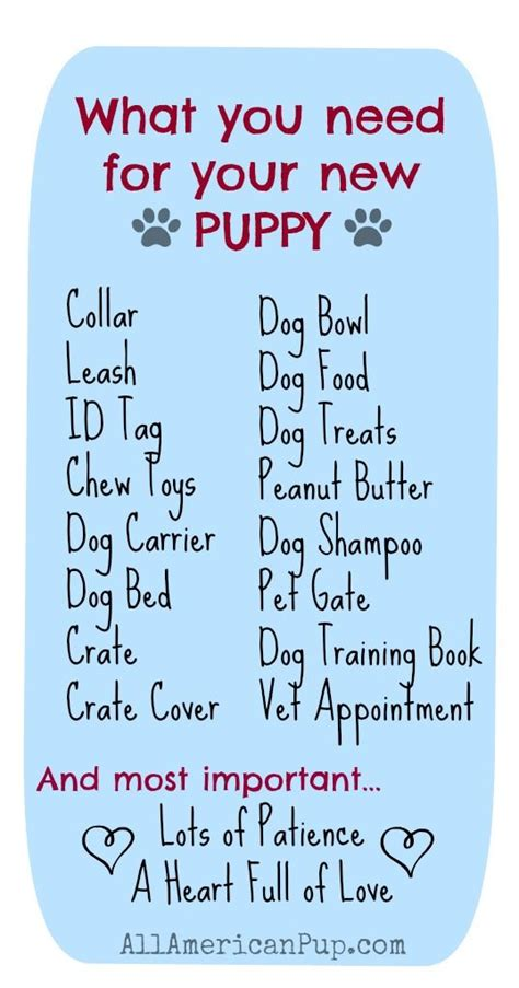 getting a new puppy here is a list of what you will need