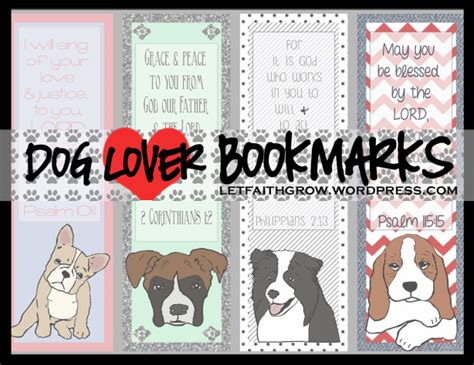 Printable Bookmarks Dogs | dog bookmarks letfaithgrow