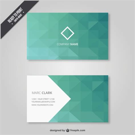 geometrical business card in green tones vector free