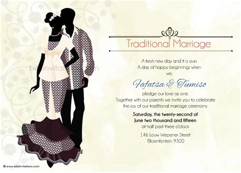 traditional invitation card template ratu sotho traditional wedding invitation