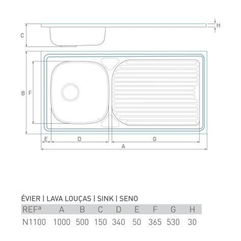 Evier 100 X 50 by 201 Vier Inox 224 Poser Horizon 1 Bac 233 Gouttoir 100 X 50