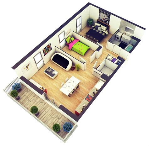 beautiful two bedroom house 3d for blueprint ideas 2018