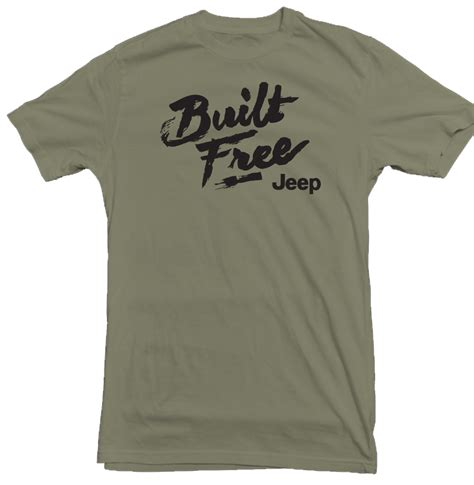 Jeep Shirts Jeep Built Free Green T Shirt Mg103