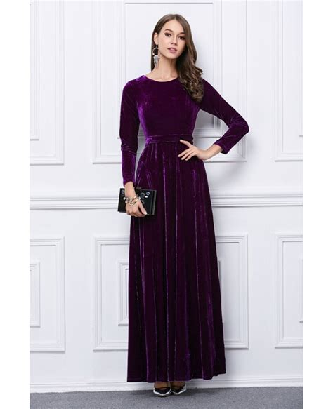 Longdress Velvet luxurious velvet evening dress with sleeves ck119 107 9 gemgrace