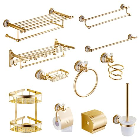 2016 fashion luxury gold finish towel rack bathroom