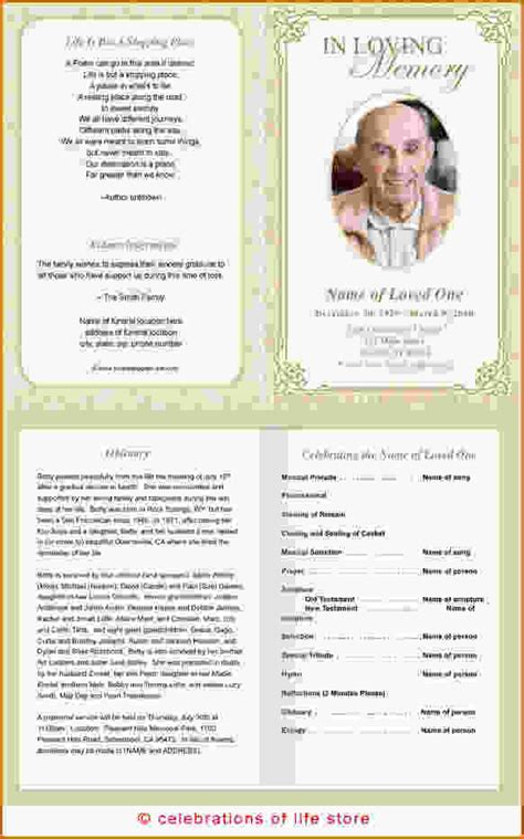 free template funeral program 12 free printable funeral program template