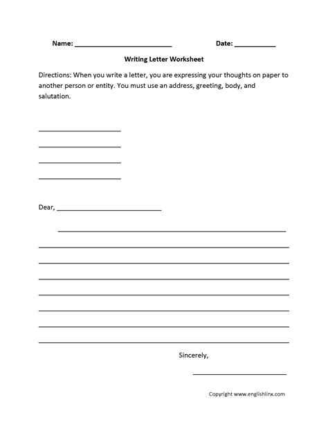 Thank You Letter Template 5th Grade Writing Worksheets Letter Writing Worksheets