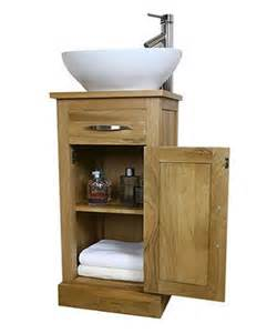 solid light oak bathroom vanity unit small cloakroom sink