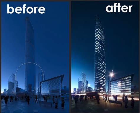 tutorial photoshop render highrise building architectural post production tutorial
