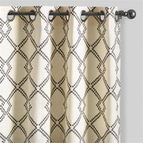 grey lattice curtains charcoal gray lattice cotton curtains set of 2 world market