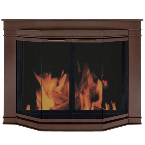 pleasant hearth grantham small glass fireplace doors gl