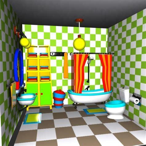 cartoon picture of bathroom 3d cartoon bathroom interior model