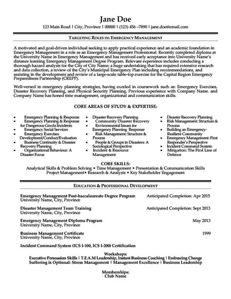 emergency management resume template premium resume sles exle