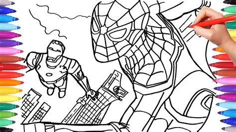 W Is For Web Coloring Page by Spider And Iron Coloring Pages Drawing Coloring