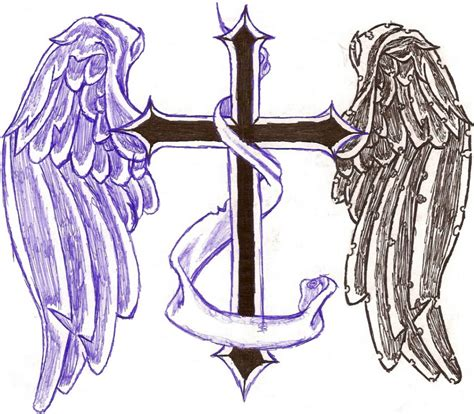 crosses with banners tattoos designs wings tattoos page 61